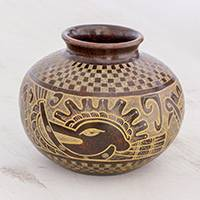 Ceramic decorative vase, 'Duality Deity' - Quetzalcóatl Handcrafted Dark Red Decorative Ceramic Vase