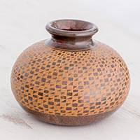 Ceramic decorative vase, 'Geometric Path' - Handcrafted Red and Terracotta Ceramic Decorative Vase