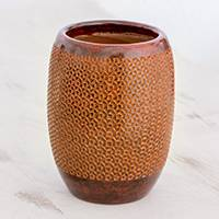 Ceramic decorative vase, 'Earthen Pinwheels' - Handcrafted Red Triangle Pattern Ceramic Decorative Vase