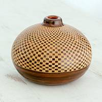 Ceramic decorative vase, 'Checkerboard Charm' - Handcrafted Brown Checkerboard Ceramic Decorative Vase