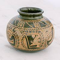Ceramic decorative vase, 'Man Meets Deity' - Quetzalcóatl Handcrafted Green Round Decorative Ceramic Vase