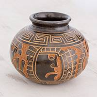 Ceramic decorative vase, 'In Awe' - Quetzalcóatl Handcrafted Brown Round Decorative Ceramic Vase