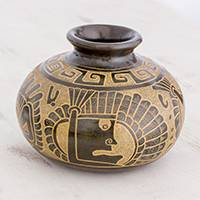 Ceramic decorative vase, 'Warrior Chieftain' - Quetzalcóatl Handcrafted Earthtone Decorative Ceramic Vase