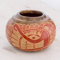 Ceramic decorative vase, 'Feathered Deity' - Quetzalcóatl Handcrafted Red Brown Decorative Ceramic Vase
