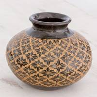 Ceramic decorative vase, 'Starburst Flower' - Handcrafted Earthy Green Star Flower Decorative Ceramic Vase