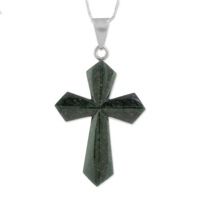 Jade pendant necklace, 'Dark Green Sacrifice of Love' - Jade Cross Necklace in Dark Green from Guatemala