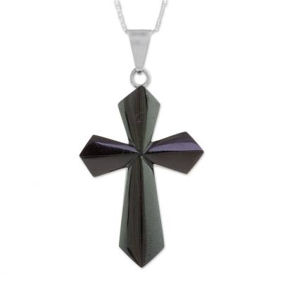Jade pendant necklace, 'Black Sacrifice of Love' - Jade Cross Necklace in Black from Guatemala