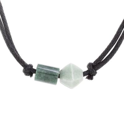 Jade pendant necklace, 'Gradient Stone' - Two-Color Green Jade Pendant on Black Cotton Cord Necklace