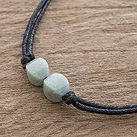 Jade pendant necklace, 'Twins Together' - Pale Green Jade Pendant on Black Cotton Cord Necklace