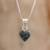 Jade pendant necklace, 'Symbol of Love' - Jade and Sterling Silver Heart Pendant Necklace (image 2) thumbail