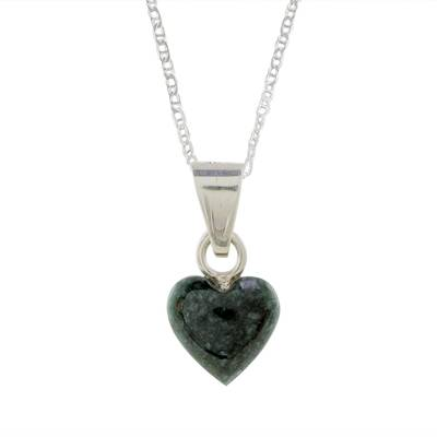 Jade pendant necklace, 'Symbol of Love' - Jade and Sterling Silver Heart Pendant Necklace
