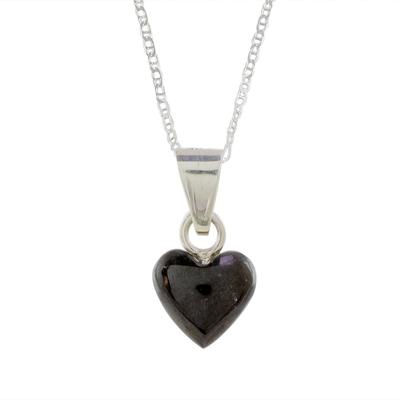 Jade pendant necklace, 'Black Symbol of Love' - Black Jade and Sterling Silver Heart Pendant Necklace