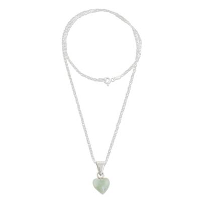 Jade pendant necklace, 'Apple Green Symbol of Love' - Apple Green Jade Heart Necklace from Guatemala