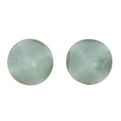 Jade stud earrings, 'Apple Green Faceted Circles' - Apple Green Jade Stud Earrings from Guatemala
