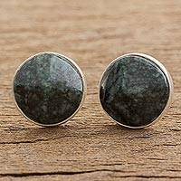 Jade stud earrings, 'Dark Green Faceted Circles' - Dark Green Jade Stud Earrings from Guatemala