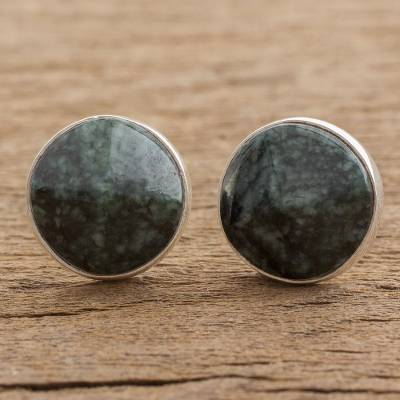 Jade Stud Earrings Dark Green Faceted Circles