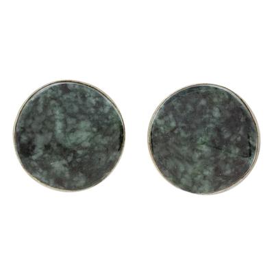 Jade stud earrings, 'Dark Green Faceted Circles' - Dark Green Jade Stud Earrings from Guatemala