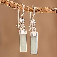 Jade dangle earrings, 'Apple Green Mayan Pillars' - Apple Green Jade Cylindrical Dangle Earrings from Guatemala