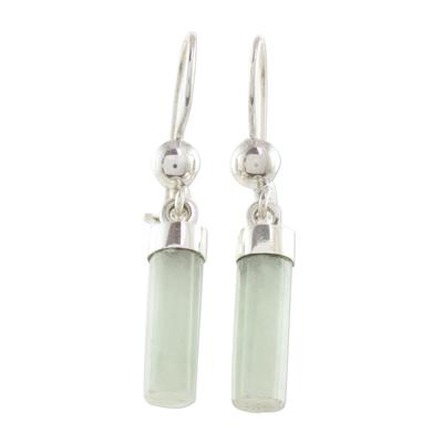 Apple Green Jade Cylindrical Dangle Earrings from Guatemala