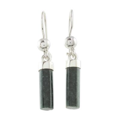 Dark Green Jade Cylindrical Dangle Earrings from Guatemala