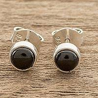 Jade stud earrings, 'Round Delight' - Round Black Jade Stud Earrings from Guatemala