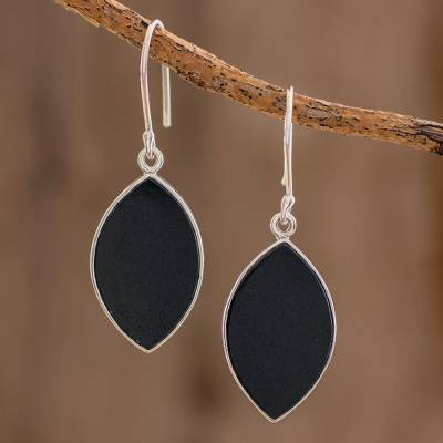 Reversible jade dangle earrings, 'Ancient Leaves' - Reversible Black and Light Green Jade Dangle Earrings