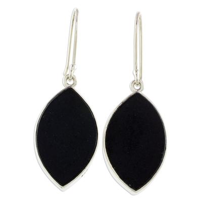 Reversible jade dangle earrings, 'Ancient Leaves' - Reversible Black and Light Green Jade Dangle Earrings