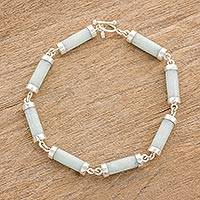 Jade link bracelet, 'Calm Beauty' - Light Jade Cylinders Sterling Silver Link Wristband Bracelet