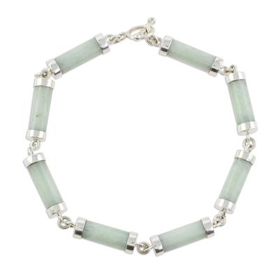 Jade link bracelet, 'Calm Beauty' - Light Jade Cylinders Sterling Silver Link Wristband Bracelet