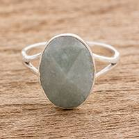 Jade cocktail ring, 'Facet Fixation' - Handcrafted Faceted Jade Oval Sterling Silver Cocktail Ring
