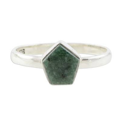 Jade cocktail ring, 'Striking in Dark Green' - Dark Green Jade Pentagon and Sterling Silver Cocktail Ring