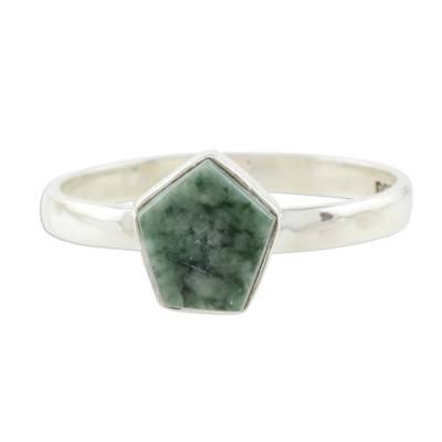Light Green Jade Pentagon and Sterling Silver Cocktail Ring