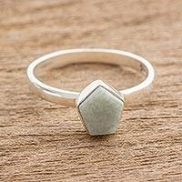 Jade cocktail ring, 'Striking in Pale Green' - Pale Green Jade Pentagon and Sterling Silver Cocktail Ring