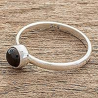 Jade solitaire ring, 'Round Delight' - Round Black Jade Solitaire Ring from Guatemala