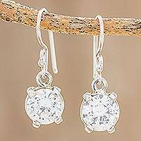 Cubic zirconia dangle earrings, 'Glimmering Translucence' - Cubic Zirconia Dangle Earrings Crafted in Guatemala