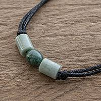 Jade pendant necklace, 'Sacred Culture' - Jade Beaded Guatemalan Pendant Necklace