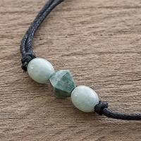 Jade pendant necklace, 'Ancestral Maya in Green' - Geometric Jade Pendant Necklace Crafted in Guatemala