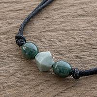 Jade pendant necklace, 'Ancestral Maya in Apple Green' - Geometric Jade Pendant Necklace from Guatemala