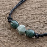 Jade pendant necklace, 'Ancestral Maya in Apple Green' - Geometric Jade Pendant Necklace from Guatemala