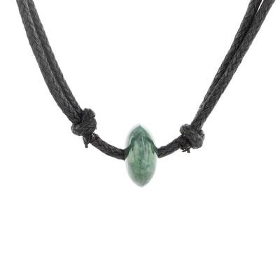 Guatemalan Necklace with a Dark Green Jade Disc Pendant