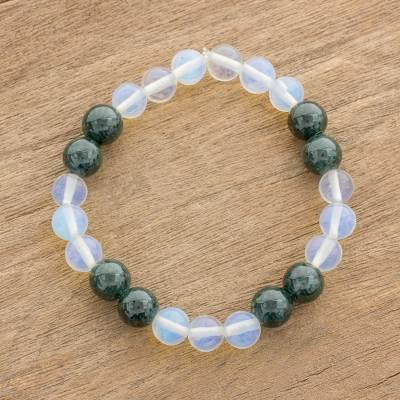 Green Rainbow Moonstone Bracelet