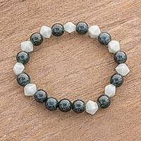 Jade beaded stretch bracelet, 'Shape Shifter' - Handcrafted Light and Dark Jade Beaded Stretch Bracelet