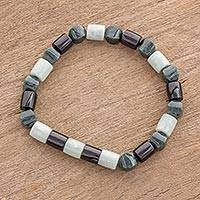 Jade beaded stretch bracelet, 'Jade Trio' - Handcrafted Guatemalan Jade Trio Beaded Stretch Bracelet