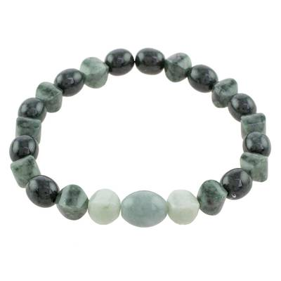 Handcrafted Three Shades of Jade Beaded Stretch Bracelet