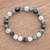 Jade beaded stretch bracelet, 'Jade Contrasts' - Guatemalan Green Black and Pale Jade Beaded Stretch Bracelet (image 2) thumbail