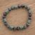 Jade beaded stretch bracelet, 'Geometric Jade' - Jade Bead Stretch Bracelet from Guatemala (image 2) thumbail