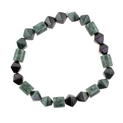 Jade beaded stretch bracelet, 'Geometric Jade' - Jade Bead Stretch Bracelet from Guatemala