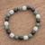 Jade beaded stretch bracelet, 'Light and Shade' - Black Green and Pale Natural Jade Beaded Stretch Bracelet (image 2) thumbail