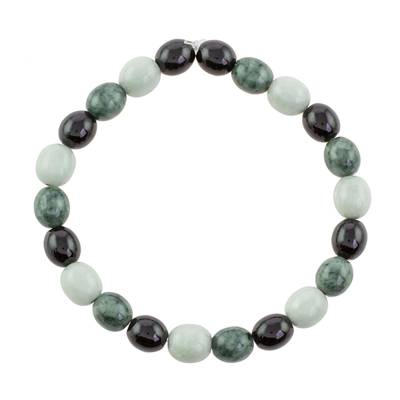 Black Green and Pale Natural Jade Beaded Stretch Bracelet