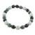 Jade beaded stretch bracelet, 'Light and Shade' - Black Green and Pale Natural Jade Beaded Stretch Bracelet (image 2b) thumbail